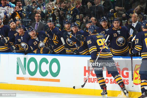 Justin Bailey of the Buffalo Sabres celebrates his goal during an NHL game against the Vegas Golden Knights on March 10 2018 at KeyBank Center in...