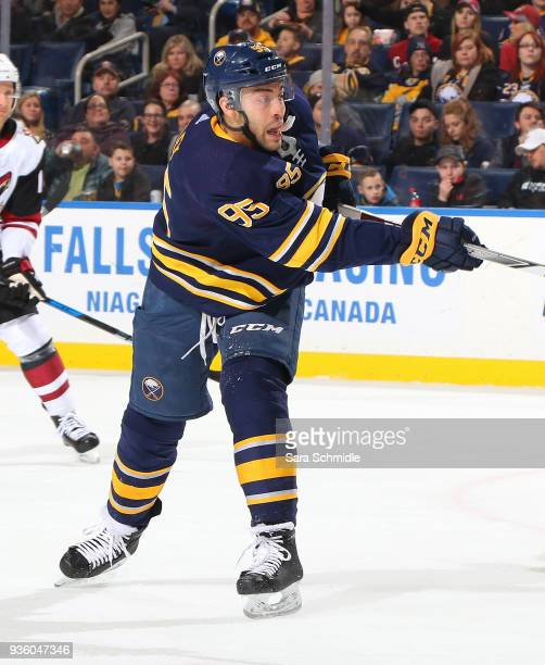 Justin Bailey of the Buffalo Sabres fires the puck during an NHL game against the Arizona Coyotes on March 21 2018 at KeyBank Center in Buffalo New...