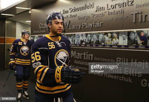 Justin Bailey of the Buffalo Sabres heads to the ice prior to the NHL game against against the Nashville Predators at the KeyBank Center on February...