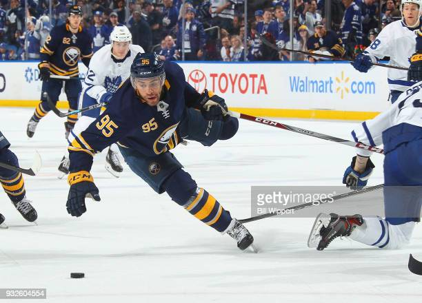 Justin Bailey of the Buffalo Sabres is upended during an NHL game against the Toronto Maple Leafs on March 15 2018 at KeyBank Center in Buffalo New...