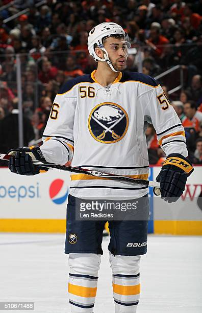 Justin Bailey of the Buffalo Sabres, making his NHL debut, looks on against the Philadelphia Flyers on February 11, 2016 at the Wells Fargo Center in...