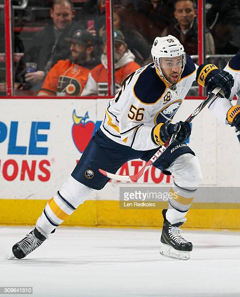 Justin Bailey of the Buffalo Sabres making his NHL debut skates against the Philadelphia Flyers on February 11 2016 at the Wells Fargo Center in...