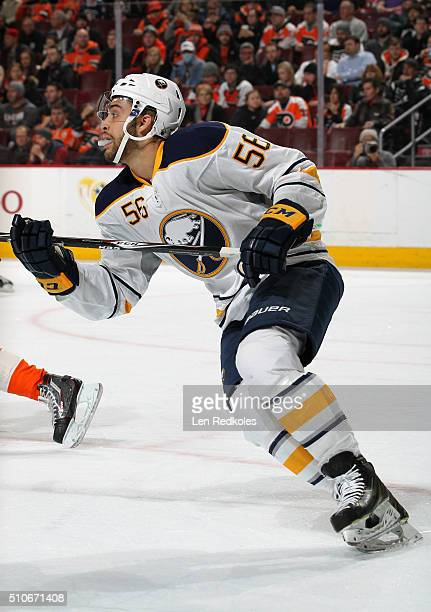 Justin Bailey of the Buffalo Sabres, making his NHL debut, skates against the Philadelphia Flyers on February 11, 2016 at the Wells Fargo Center in...
