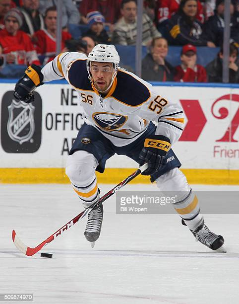 Justin Bailey of the Buffalo Sabres moves the puck up ice against the Montreal Canadiens during an NHL game on February 12 2016 at the First Niagara...