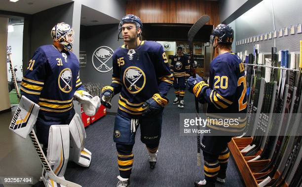 Justin Bailey of the Buffalo Sabres prepares to take the ice before an NHL game against the Toronto Maple Leafs on March 15 2018 at KeyBank Center in...
