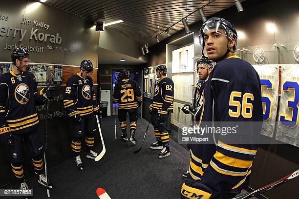 Justin Bailey of the Buffalo Sabres prepares to take the ice up before playing against the Toronto Maple Leafs during an NHL game at the KeyBank...
