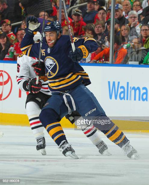 Justin Bailey of the Buffalo Sabres skates against the Chicago Blackhawks during an NHL game on March 17 2018 at KeyBank Center in Buffalo New York...