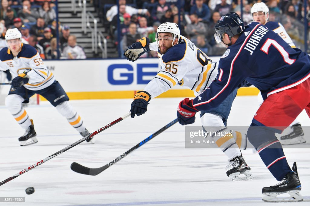 Justin Bailey #95 of the Buffalo Sabres skates against the Columbus Blue Jackets on October 25, 2017 at Nationwide Arena in Columbus, Ohio.