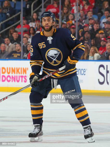 Justin Bailey of the Buffalo Sabres skates against the Detroit Red Wings during an NHL game on October 24, 2017 at KeyBank Center in Buffalo, New...