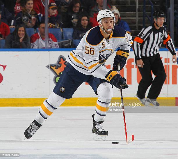 Justin Bailey of the Buffalo Sabres skates against the Montreal Canadiens during an NHL game on February 12 2016 at the First Niagara Center in...
