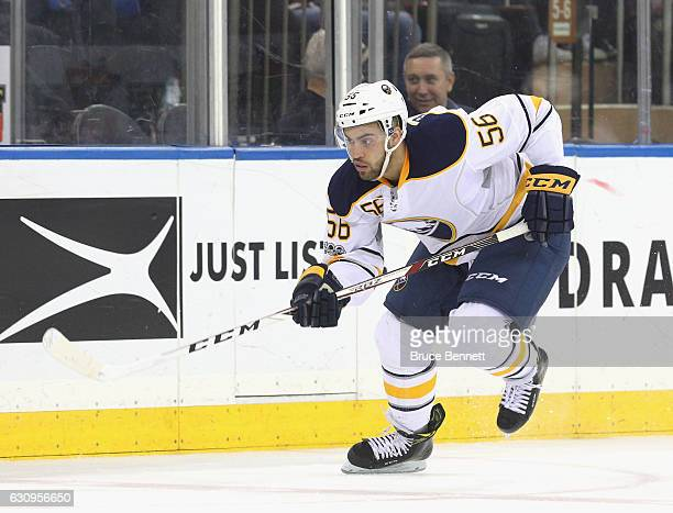 Justin Bailey of the Buffalo Sabres skates against the New York Rangers at Madison Square Garden on January 3 2017 in New York City The Sabres...