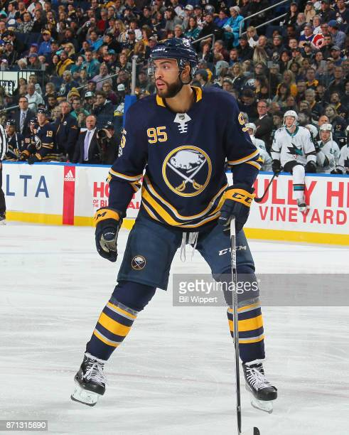 Justin Bailey of the Buffalo Sabres skates against the San Jose Sharks during an NHL game on October 28 2017 at KeyBank Center in Buffalo New York