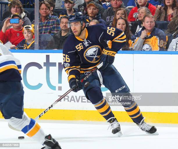 Justin Bailey of the Buffalo Sabres skates against the St Louis Blues during an NHL game at the KeyBank Center on February 18 2017 in Buffalo New York