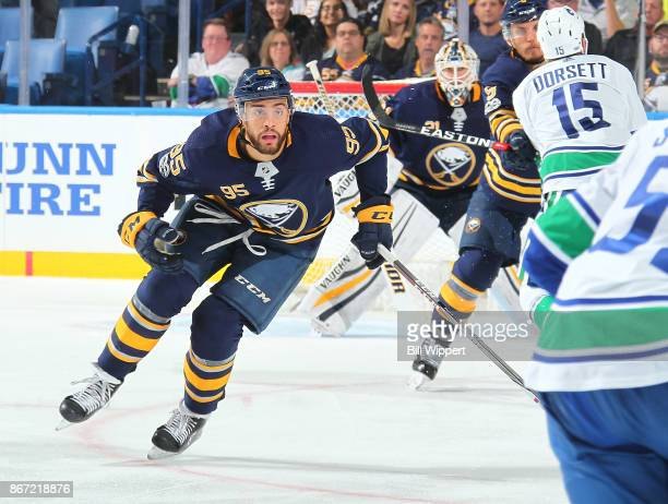Justin Bailey of the Buffalo Sabres skates during an NHL game against the Vancouver Canucks on October 20 2017 at KeyBank Center in Buffalo New York