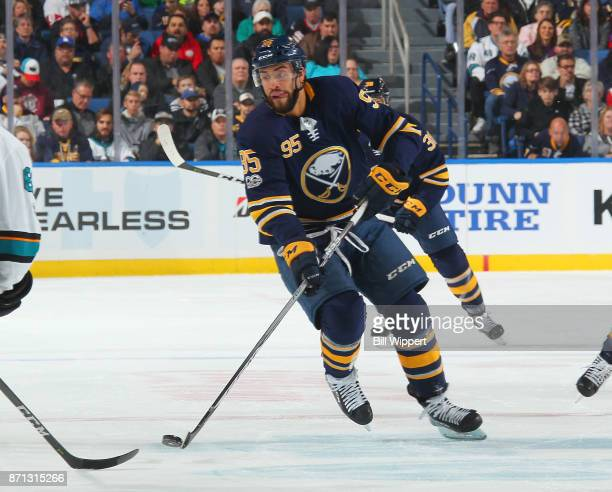 Justin Bailey of the Buffalo Sabres skates during an NHL game against the San Jose Sharks on October 28 2017 at KeyBank Center in Buffalo New York