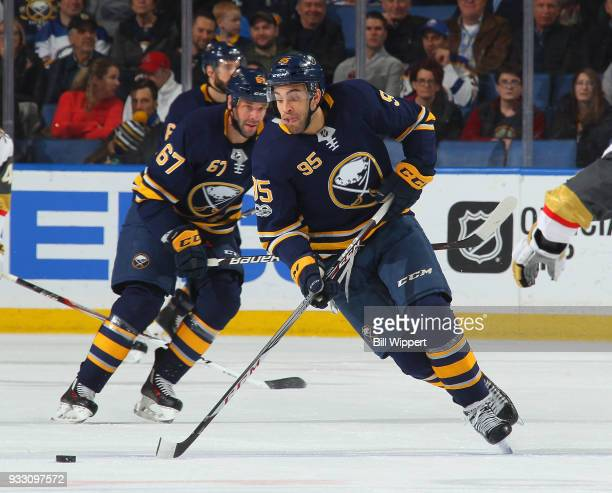 Justin Bailey of the Buffalo Sabres skates during an NHL game against the Vegas Golden Knights on March 10 2018 at KeyBank Center in Buffalo New York