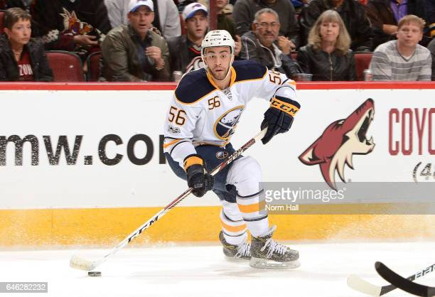 Justin Bailey of the Buffalo Sabres skates with the puck against the Arizona Coyotes at Gila River Arena on February 26 2017 in Glendale Arizona