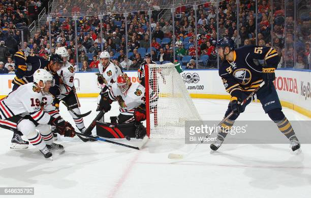 Justin Bailey of the Buffalo Sabres skates with the puck against the Chicago Blackhawks during an NHL game at the KeyBank Center on February 19 2017...