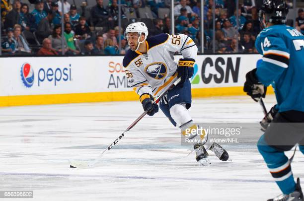 Justin Bailey of the Buffalo Sabres skates with the puck against the San Jose Sharks at SAP Center on March 14 2017 in San Jose California