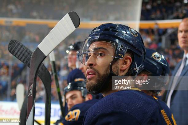 Justin Bailey of the Buffalo Sabres watches the action during an NHL game against the Vancouver Canucks on October 20, 2017 at KeyBank Center in...