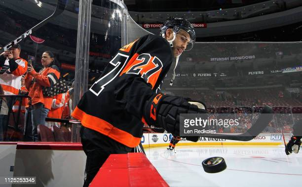 Justin Bailey of the Philadelphia Flyers enters the ice surface for warmups prior to his game against the Detroit Red Wings on February 16, 2019 at...