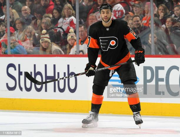 Justin Bailey of the Philadelphia Flyers sets-up against the Detroit Red Wings on February 16, 2019 at the Wells Fargo Center in Philadelphia,...