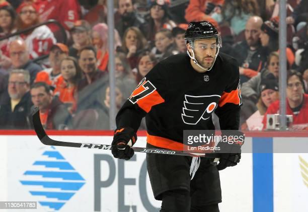 Justin Bailey of the Philadelphia Flyers skates against the Detroit Red Wings on February 16, 2019 at the Wells Fargo Center in Philadelphia,...