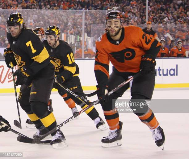 Justin Bailey of the Philadelphia Flyers skates against the Pittsburgh Penguins during the 2019 Coors Light NHL Stadium Series game at the Lincoln...