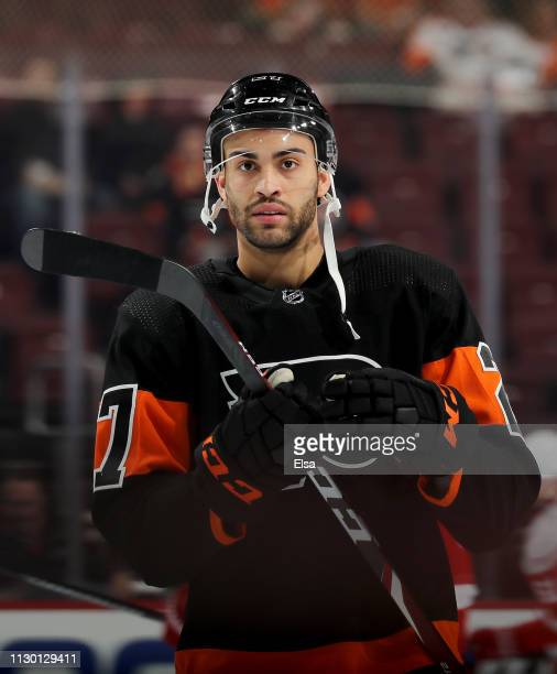 Justin Bailey of the Philadelphia Flyers skates during warm ups before the game against the Detroit Red Wings at Wells Fargo Center on February 16,...