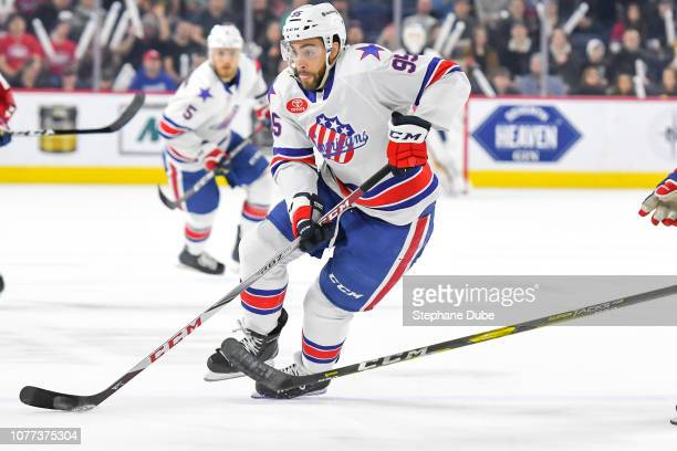 Justin Bailey of the Rochester Americans in control of the puck against the Laval Rocket at Place Bell on January 4 2019 in Laval Quebec