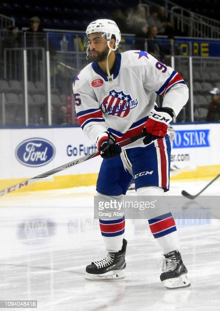 Justin Bailey of the Rochester Americans skates in warmup prior to a game against the Toronto Marlies on January 12 2019 at CocaCola Coliseum in...