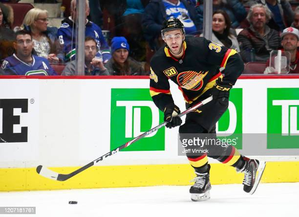 Justin Bailey of the Vancouver Canucks skates up ice during their NHL game against the Nashville Predators at Rogers Arena February 10, 2020 in...