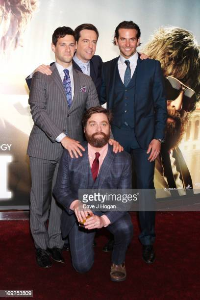 Justin Bartha Ed Helms Zach Galifianakis and Bradley Cooper attend the European Premiere of 'The Hangover Part III' at The Empire Leicester Square on...