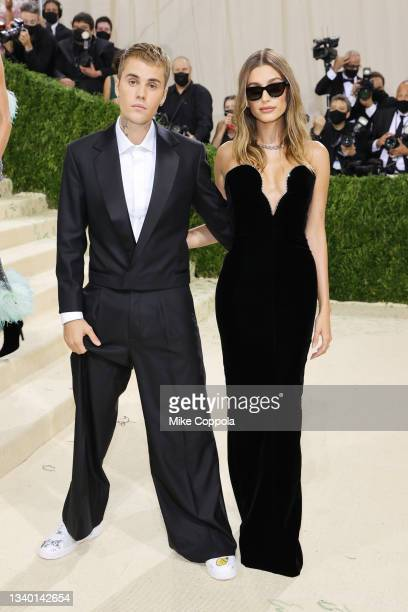 Justin Beiber and Hailey Bieber attend The 2021 Met Gala Celebrating In America: A Lexicon Of Fashion at Metropolitan Museum of Art on September 13,...