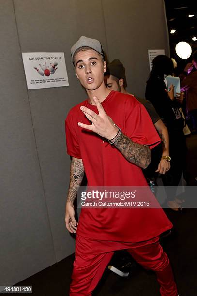 Justin Beiber backstage during the MTV EMA's 2015 at Mediolanum Forum on October 25 2015 in Milan Italy