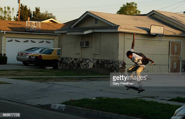 Justin Bennett skateboards on 137th St in Compton on February 13 2013 He lives nearby on Stockwell Street in Compton Out of any zip code in the...