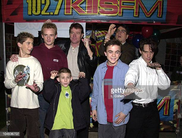 Justin Berfield Christopher Masterson Erik Per Sullivan Bryan Cranston and Frankie Muniz of Malcolm in the Middle with John Flansburgh and John...