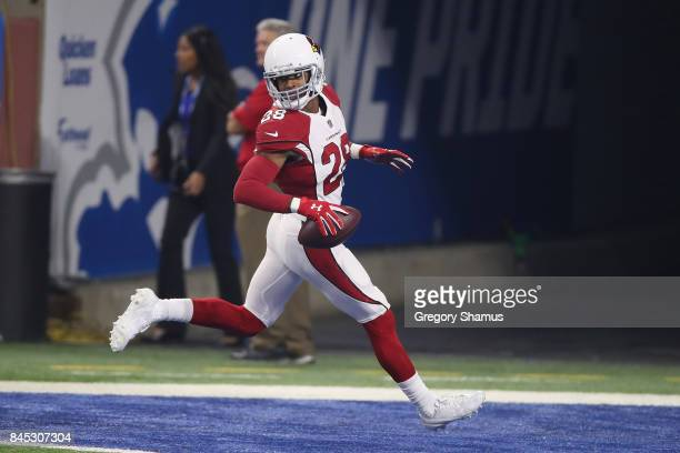 Justin Bethel of the Arizona Cardinals scores a touchdown in the first quarter against Detroit Lions at Ford Field on September 10 2017 in Detroit...