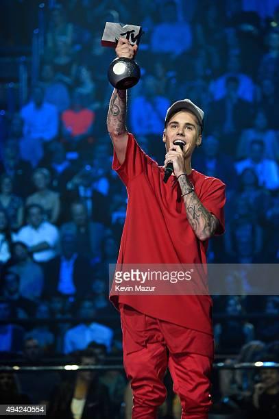 Justin Bieber accepts award onstage at the MTV EMA's 2015 at Mediolanum Forum on October 25, 2015 in Milan, Italy.
