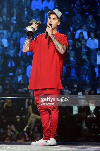Justin Bieber accepts the award for Best Collaboration from on stage during the MTV EMA's 2015 at the Mediolanum Forum on October 25 2015 in Milan...