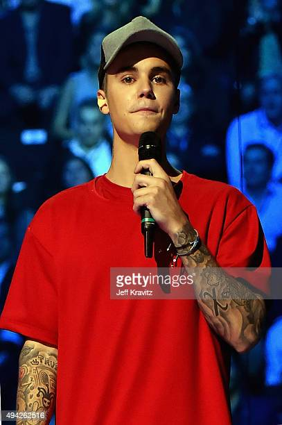 Justin Bieber accepts the award for Best Male artist on stage during the MTV EMA's 2015 at the Mediolanum Forum on October 25 2015 in Milan Italy
