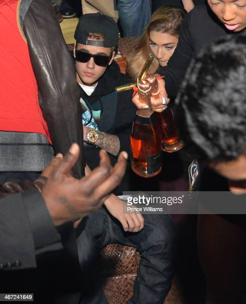 Justin Bieber and Chantel Jeffries attend Ciroc party at Vanquish Lounge on February 5 2014 in Atlanta Georgia