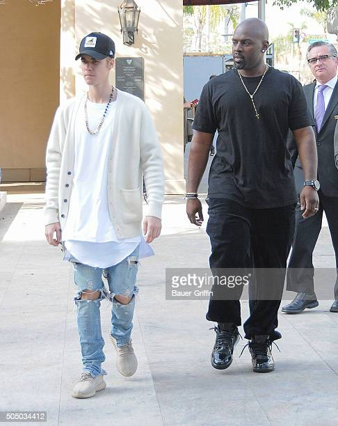 Justin Bieber and Corey Gamble are seen on January 14 2016 in Los Angeles California