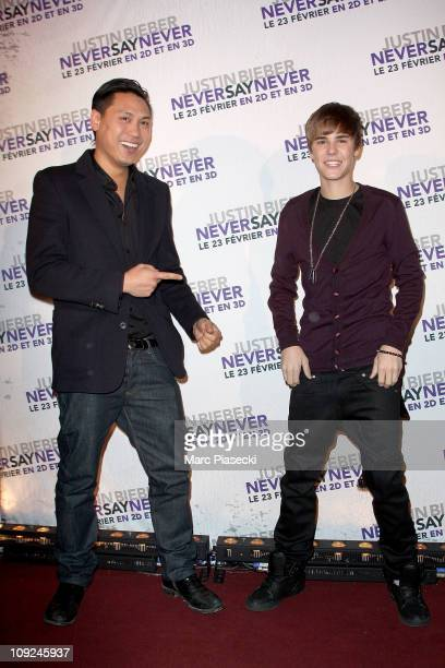 Justin Bieber and director Jon M Chu attend the 'Justin Bieber Never Say Never' Premiere at Le Grand Rex on February 17 2011 in Paris France