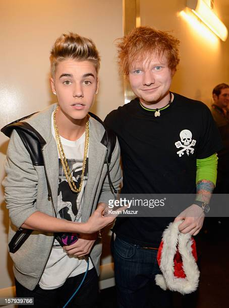 Justin Bieber and Ed Sheeran attend backstage at Z100's Jingle Ball 2012 presented by Aeropostale at Madison Square Garden on December 7 2012 in New...