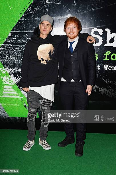 Justin Bieber and Ed Sheeran attend the World Premiere of Ed Sheeran Jumpers For Goalposts at Odeon Leicester Square on October 22 2015 in London...