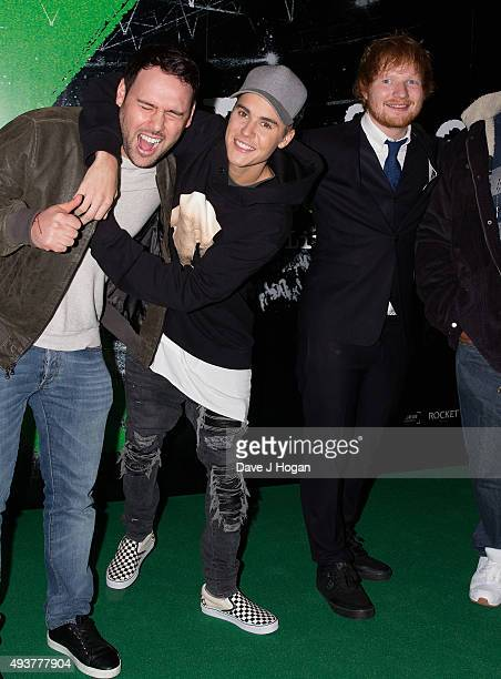 Justin Bieber and Ed Sheeran attend the World Premiere of Jumpers For Goalposts at Odeon Leicester Square on October 22 2015 in London England