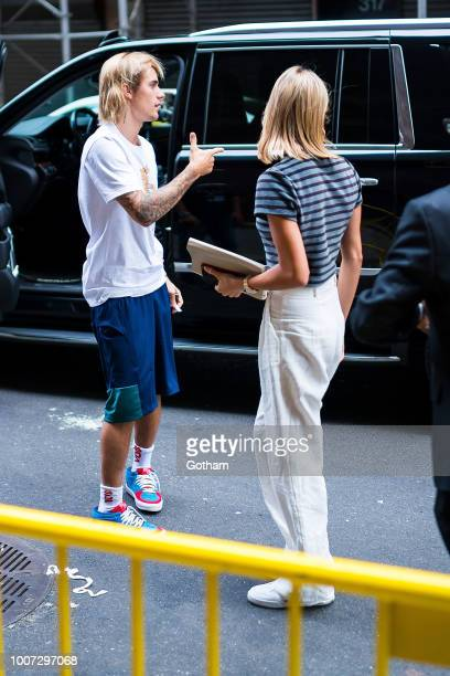 Justin Bieber and Hailey Baldwin are seen arriving at the Hillsong Church in Midtown on July 29 2018 in New York City