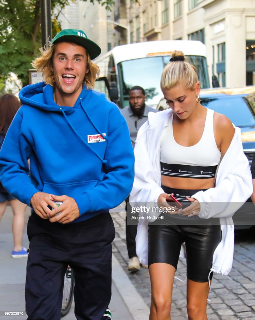 Justin Bieber and Hailey Baldwin are seen heading to dinner in Dumbo on July 12, 2018 in New York, New York.