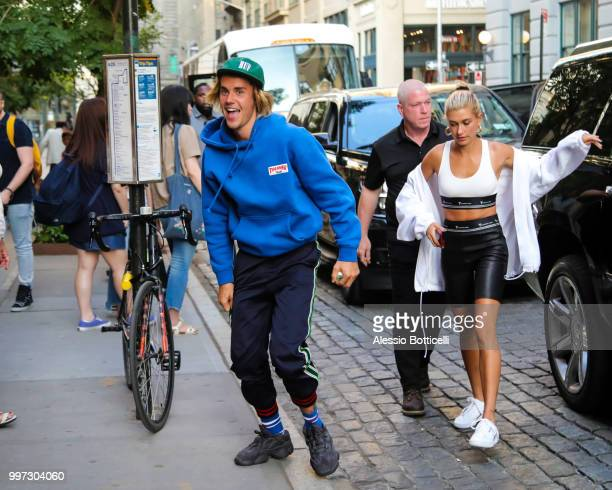 Justin Bieber and Hailey Baldwin are seen heading to dinner in Dumbo on July 12 2018 in New York New York